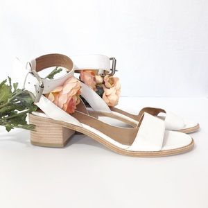 Frye White Leather Sandals.